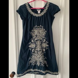 Cute Options Navy/cream embroidered cotton dress S